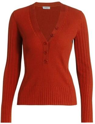 Akris Punto Button Placket Ribbed Wool Sweater