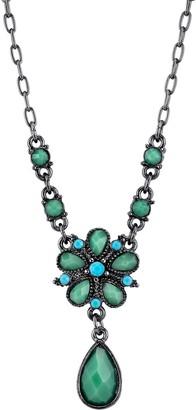 1928 Teal Flower & Teardrop Necklace