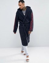 Emporio Armani Logo Hooded Robe In Navy
