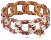 "Betsey Johnson Vintage Bows"" Floral Printed Stretch Bracelet, 7.5"""