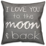 Ddcg I Love You to the Moon and Back Gray Spun Poly Pillow, 18x18