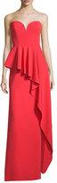 Milly Asymmetric Peplum Strapless Sweetheart Gown, Tomato