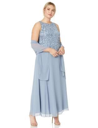 J Kara Women's Plus Size Sleeveless Beaded Pop Over Dress with Scarf