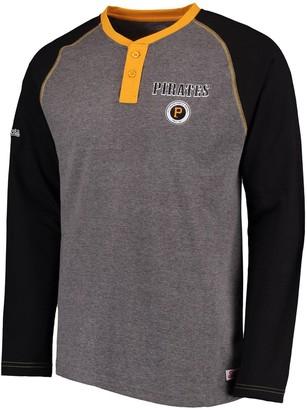 Stitches Men's Heathered Gray/Black Pittsburgh Pirates Home Run Long Sleeve Henley T-Shirt