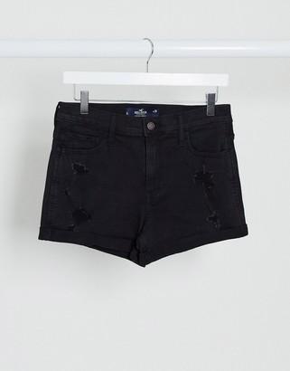 Hollister high waist denim mom short in black