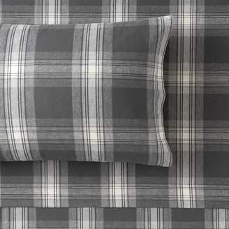 Pottery Barn Teen Trevor Plaid Organic Sheet Set, Full, Light Gray