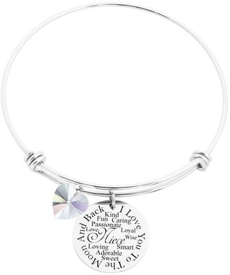 I Love You to the Moon Bangle Made with Crystals from Swarovski by Pink Box Niece Silver