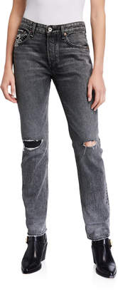Rag & Bone Rosa Mid-Rise Boyfriend Jeans with Ripped Knees