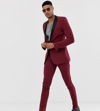 ASOS DESIGN Tall super skinny tuxedo suit trousers in burgundy