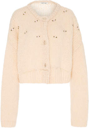 Sandy Liang Post Floral-Appliqued Knitted Cardigan