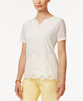 Alfred Dunner Botanical Garden Floral-Lace Top