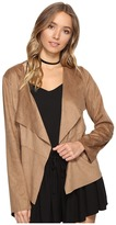 BB Dakota Joline Drape Front Perforated Faux Suede Jacket