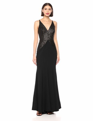 Dress the Population Women's Marlene Sequin Crepe Plunging Long Mermaid Gown Dress