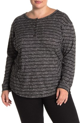 ALL IN FAVOR Striped Knit Long Sleeve T-Shirt (Plus Size)