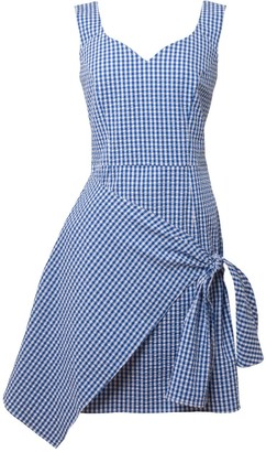 Tomcsanyi Vecses Blue & White Overlap Skirt Dress