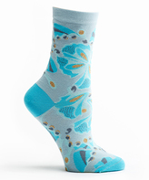 Ozone Blue Butterfly Crew Socks