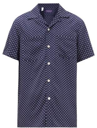 Ralph Lauren Purple Label Polka-dot Cuban-collar Poplin Shirt - Mens - Navy White