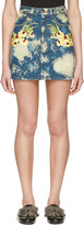 Gucci Blue Denim Flower Patch Miniskirt