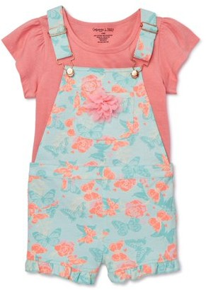 Colette Lilly Girls 4-6x Printed Shortall and Flutter Sleeve Top, 2-Piece Outfit Set