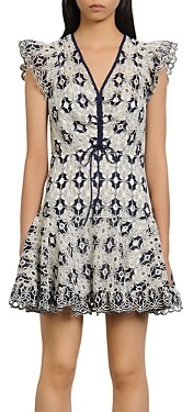 Sandro Elie Eyelet-Lace Mini Dress