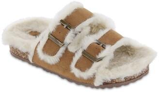 Mia Rozy Faux Fur Dual Buckle Slide