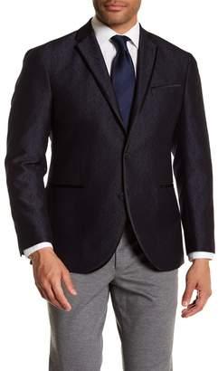 Kenneth Cole Reaction Blue & Black Jacquard Two Button Evening Trim Fit Jacket