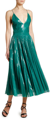 MSGM Shimmery V-Neck Pleated Cami Dress