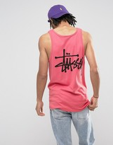 Stussy Singlet With Logo Back Print In Pink