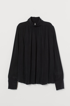 H&M High-collar Blouse - Black