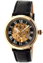 Heritor Automatic Ossibus Mens Skeleton Dial Leather-Band Gold Tone/Black Watch