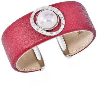 Majorica Stainless Steel, Leather & 14MM White Mabe Man-Made Pearl Cuff