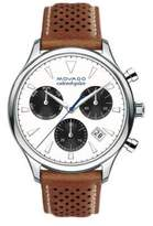 Movado Heritage Stainless Steel Laser Cut Leather Strap Watch