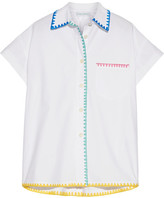 Mira Mikati Embroidered Cotton-poplin Shirt - White