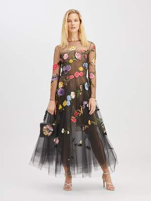 Oscar de la Renta Floral Embroidered Cocktail Dress