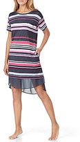 DKNY Striped Jersey & Chiffon Sleepshirt