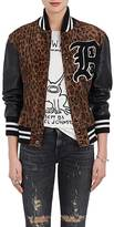R 13 Women's Calf Hair Varsity Jacket
