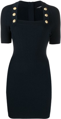 Balmain Button-Embellished Knitted Dress