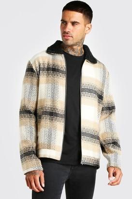 boohoo Mens Beige Check herringbone borg collar harrington jacket, Beige