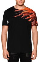 Marcelo Burlon County of Milan Feather-Print Short-Sleeve Graphic Tee, Black Multi
