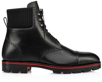 Christian Louboutin City Leather Lasercut Combat Boots