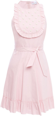 RED Valentino Studded Gathered Stretch-cotton Poplin Mini Dress