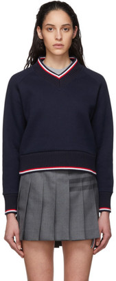Thom Browne Navy University V-Neck Sweater