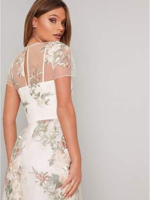 Chi Chi London Bryanna Embroidered Midi Dress - Nude