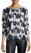 Donna Karan Cashmere-Wool Long Sleeve Sweater, Black/Ivory