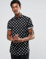 Asos Polka Dot Shirt In Black With Short Sleeves In Regular Fit