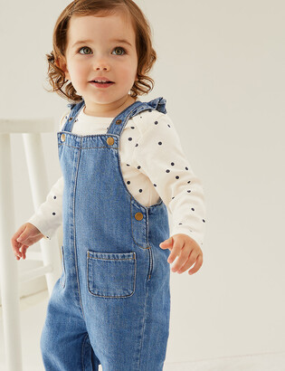 Marks and Spencer 2pc Pure Cotton Denim Dungaree Outfit (0-3 Yrs)