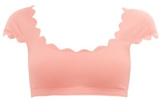 Marysia Swim Mexico Scalloped-edge Cap-sleeve Bikini Top - Pink