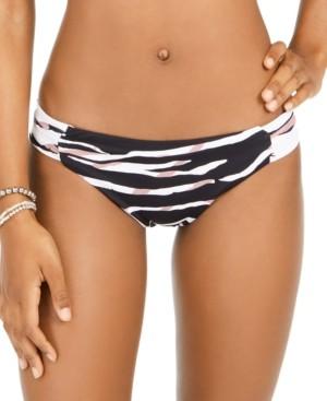 Bar III Zebra-Print Shirred Bikini Bottoms, Created for Macy's Women's Swimsuit