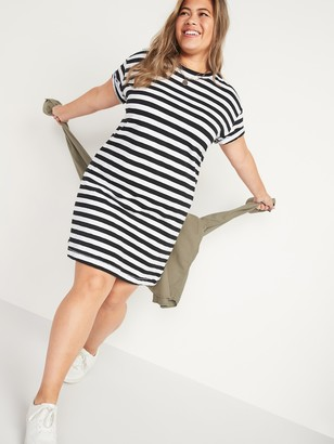 Old Navy Vintage Striped Slub-Knit Plus-Size T-Shirt Shift Dress