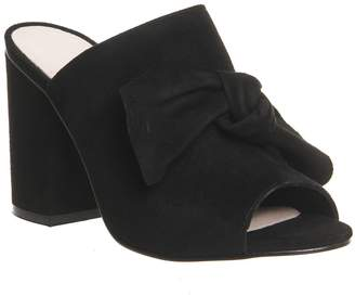 Office Aintree Bow Detail Mules Black Suede